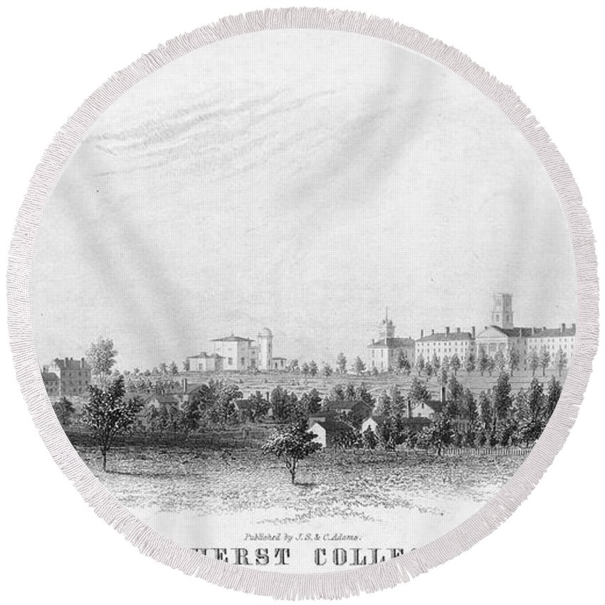 1863 Round Beach Towel featuring the photograph Amherst College, 1863 by Granger