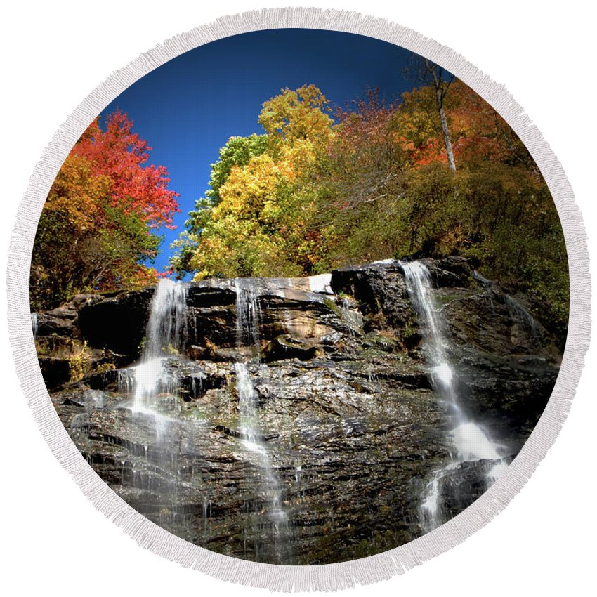 Amicalola Round Beach Towel featuring the photograph Amicalola falls by Dick Goodman