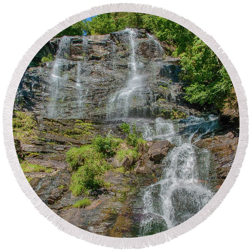 Amicalola Falls State Park Round Beach Towel featuring the photograph Amicalola Falls by Spencer Studios
