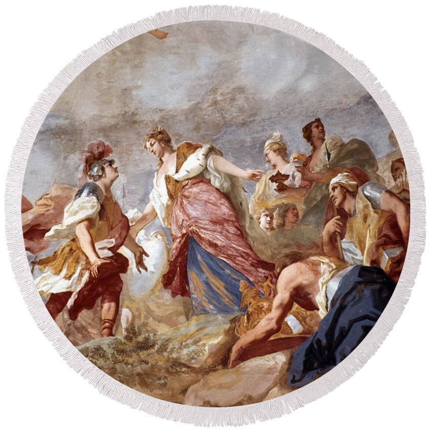 18th Century Round Beach Towel featuring the painting Amigoni: Dido And Aeneas by Granger