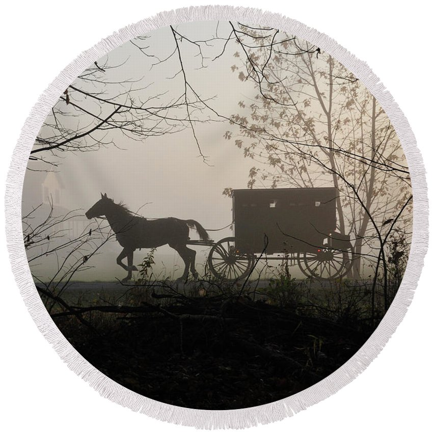 Amish Round Beach Towel featuring the photograph Amish Buggy Foggy Sunday by David Arment