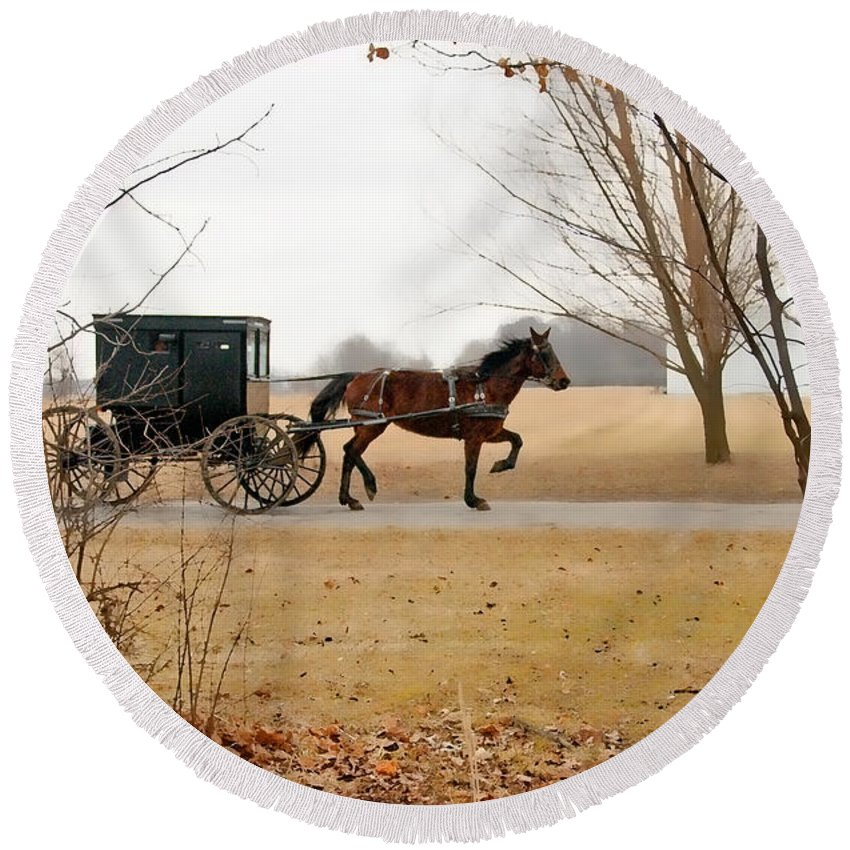 Amish Round Beach Towel featuring the photograph Amish Dream 1 by David Arment