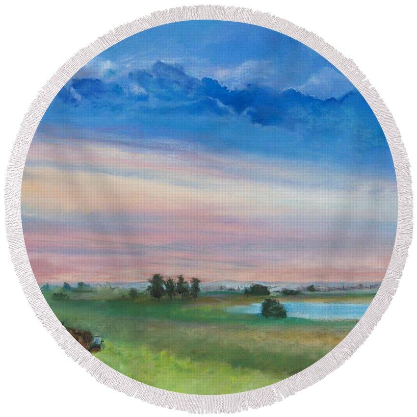 Amish Farm By Robin Maria Pedrero Round Beach Towel featuring the pastel Amish Farm by Robin Maria Pedrero