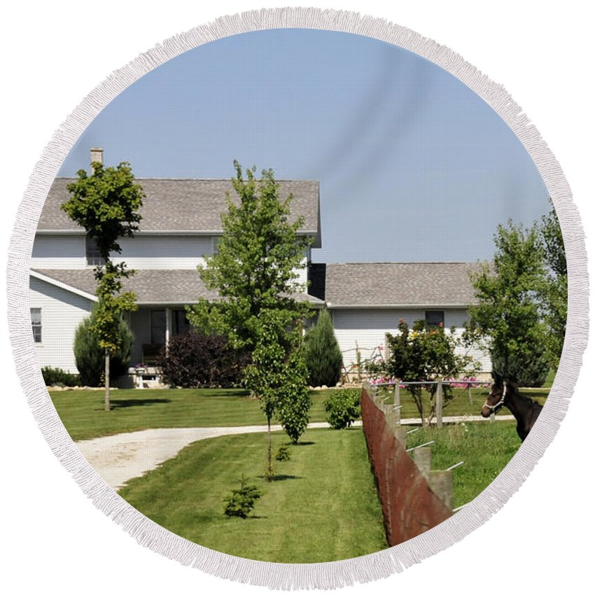 Amish Round Beach Towel featuring the photograph Amish House by David Arment