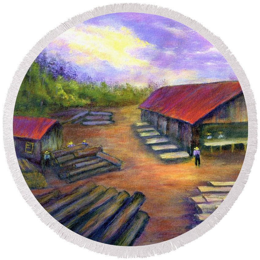 Amish Round Beach Towel featuring the painting Amish Lumbermill by Gail Kirtz