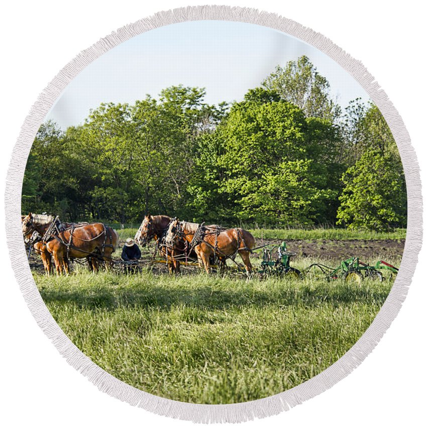 Amish Round Beach Towel featuring the photograph Amish Man Plowing by David Arment