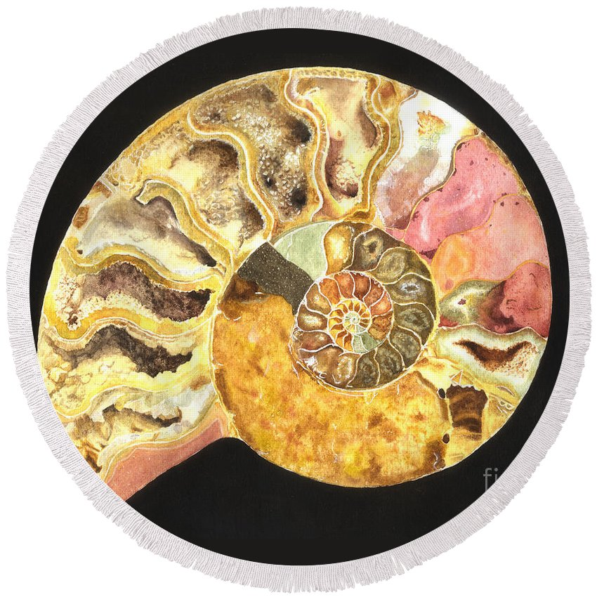 Ammonite Fossil Round Beach Towel featuring the painting Ammonite Fossil by Lynn Quinn