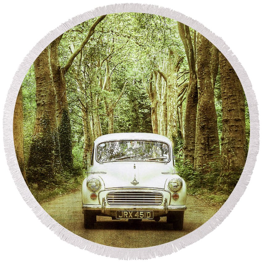 Classic Car Round Beach Towel featuring the photograph Among Tall Trees by Debra Cox