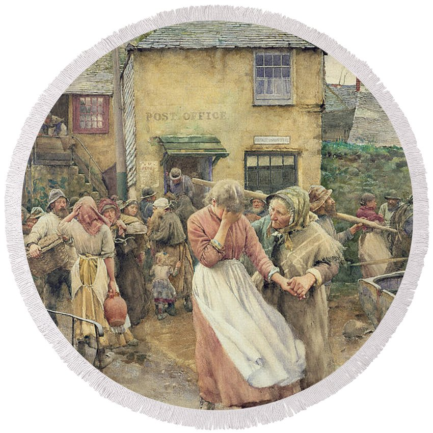 Among The Missing Round Beach Towel featuring the painting Among The Missing by Walter Langley