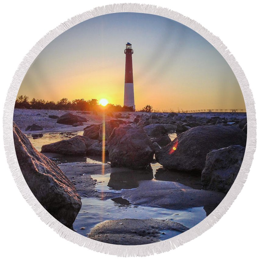 New Jersey Round Beach Towel featuring the photograph Among The Rocks by Kristopher Schoenleber