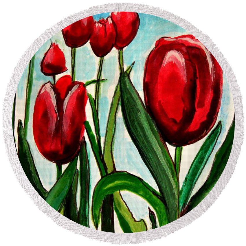 Tulips Round Beach Towel featuring the painting Among The Tulips by Elizabeth Robinette Tyndall