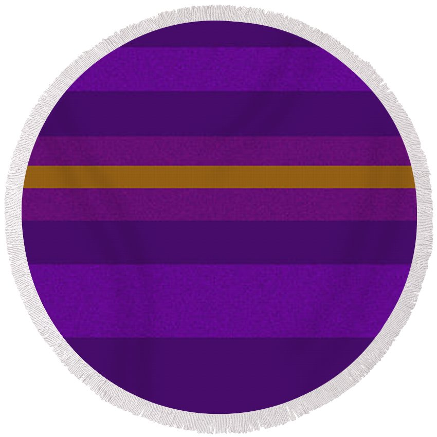 Amore Round Beach Towel featuring the digital art Amore Purple by Anne Cameron Cutri