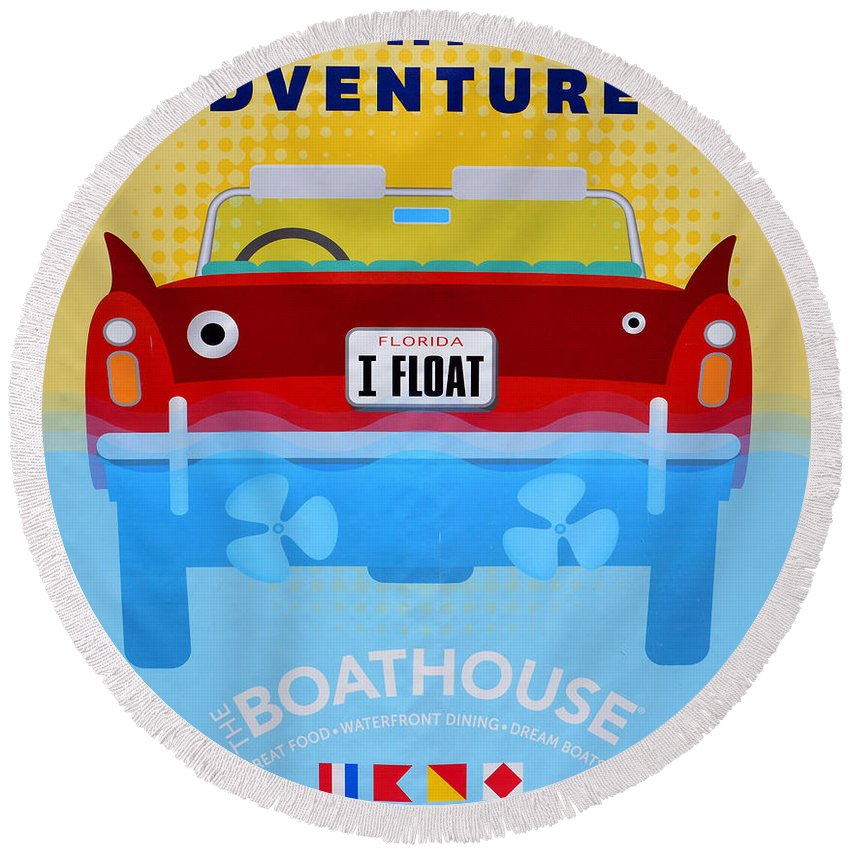 Disney Springs Round Beach Towel featuring the photograph Amphicar Adventure Sign by David Lee Thompson