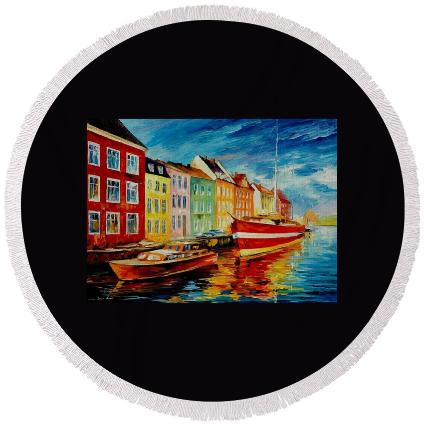Afremov Round Beach Towel featuring the painting Amsterdam - City Dock by Leonid Afremov