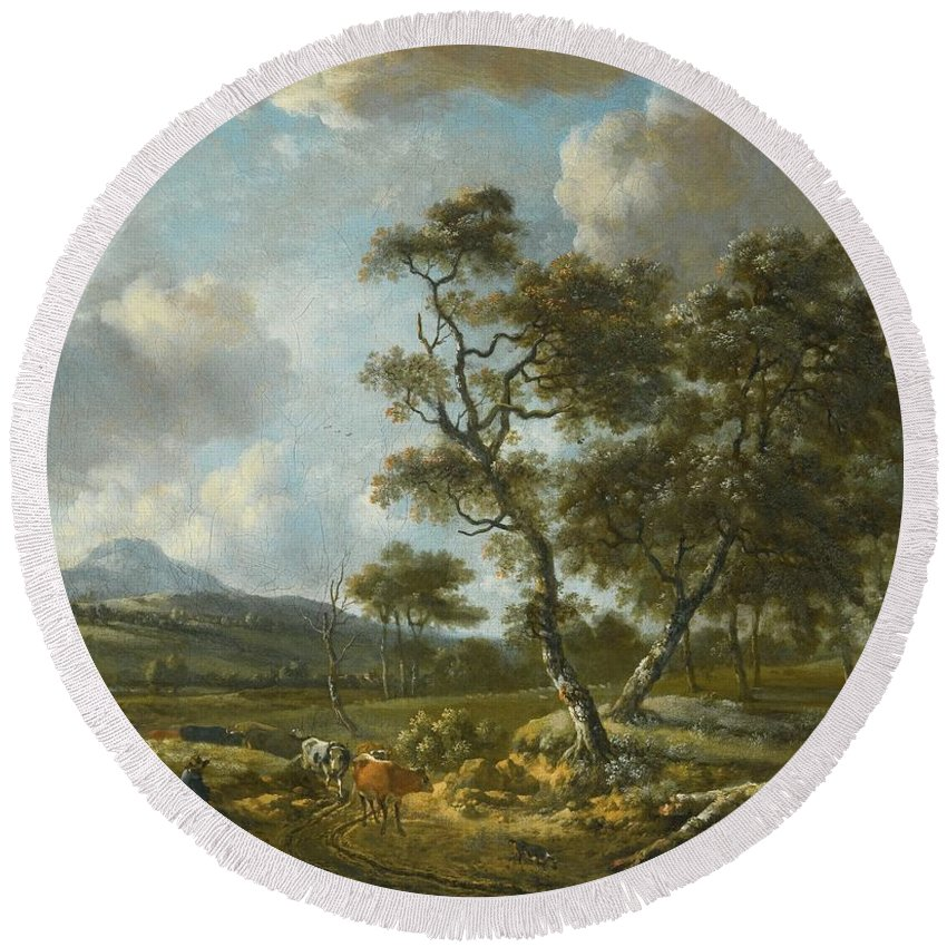 Jan Wijnants Haarlem Circa 1635 - 1684 Amsterdam A Landscape With Cattle Being Driven Along A Country Road Round Beach Towel featuring the painting Amsterdam A Landscape With Cattle by MotionAge Designs