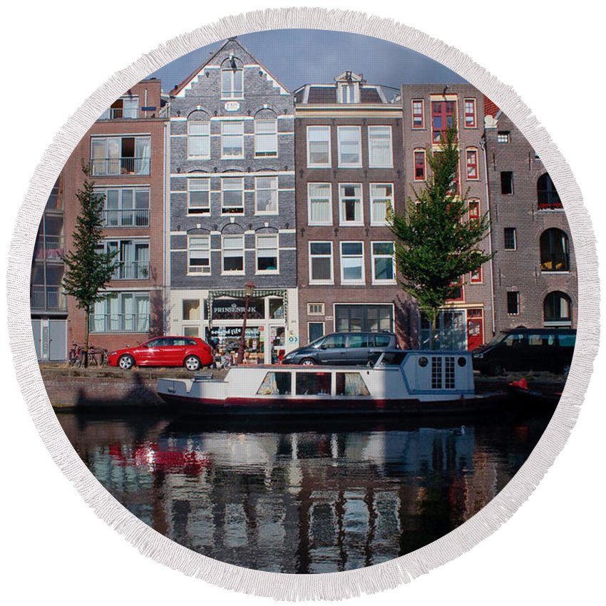 Amsterdam Round Beach Towel featuring the photograph Amsterdam Canal by Thomas Marchessault