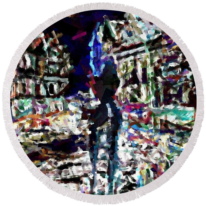 Erotic Round Beach Towel featuring the painting Amsterdam Nights by AA Pablo Solomon