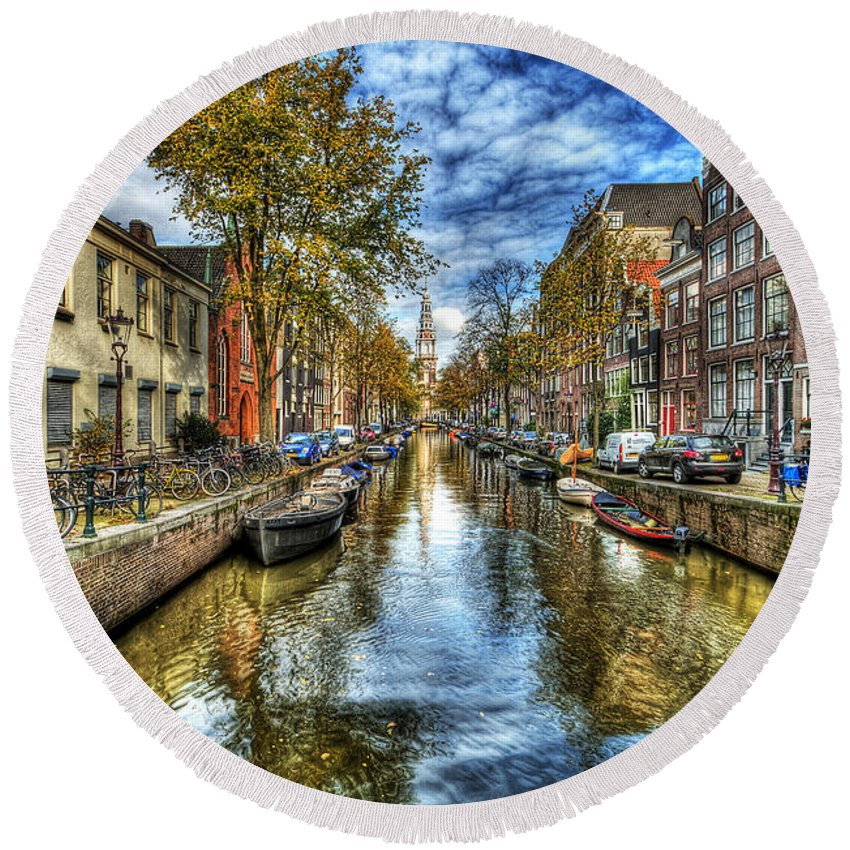 Amsterdam Round Beach Towel featuring the photograph Amsterdam by Svetlana Sewell