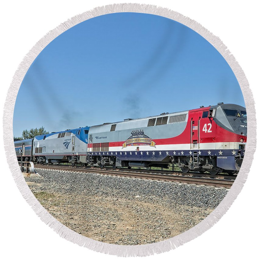 Amtrak Round Beach Towel featuring the photograph Amtrak 42 Veteran's Special by Jim Thompson