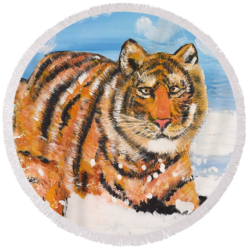 Cat Round Beach Towel featuring the painting Amur Tiger by Valerie Ornstein