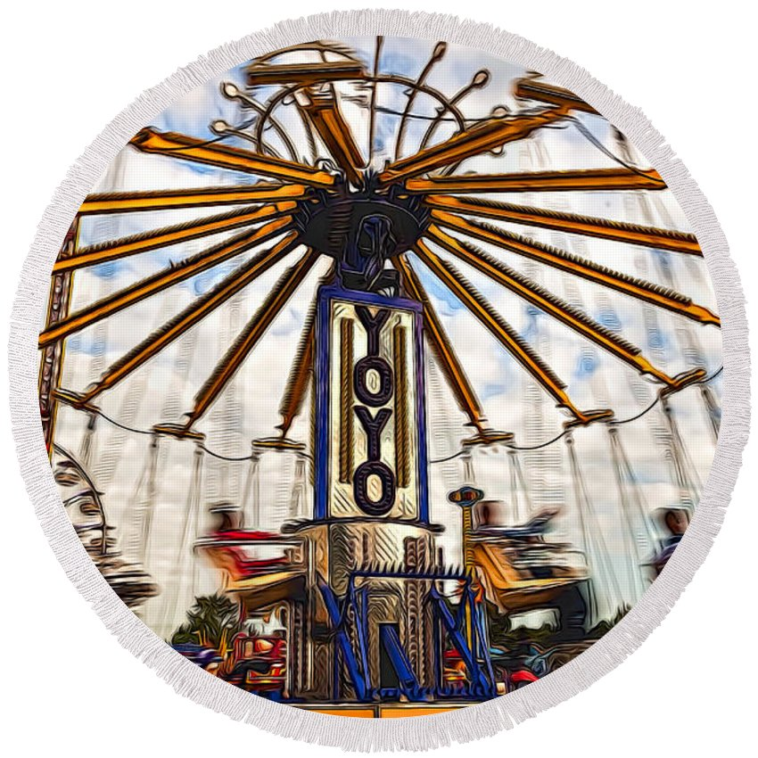 Action Round Beach Towel featuring the photograph Amusement Park by Maria Coulson