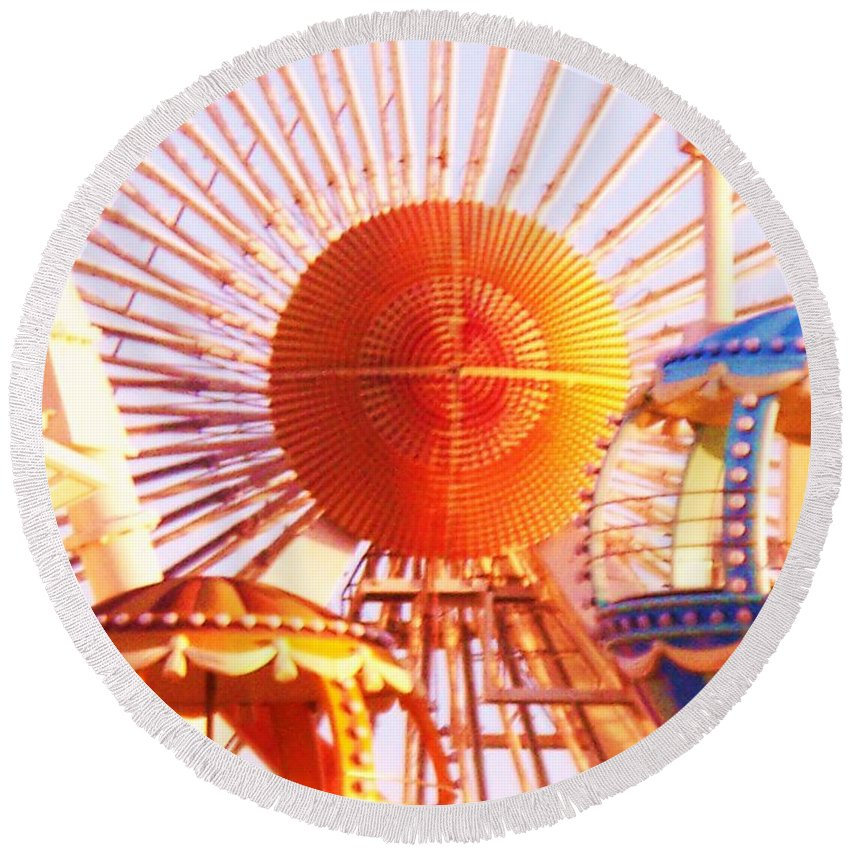 Amusement Round Beach Towel featuring the painting Amusement Rides by Eric Schiabor