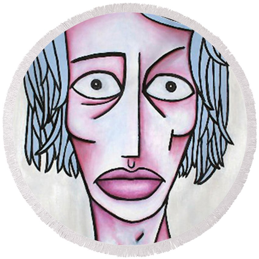 Potrait Round Beach Towel featuring the painting amy by Thomas Valentine