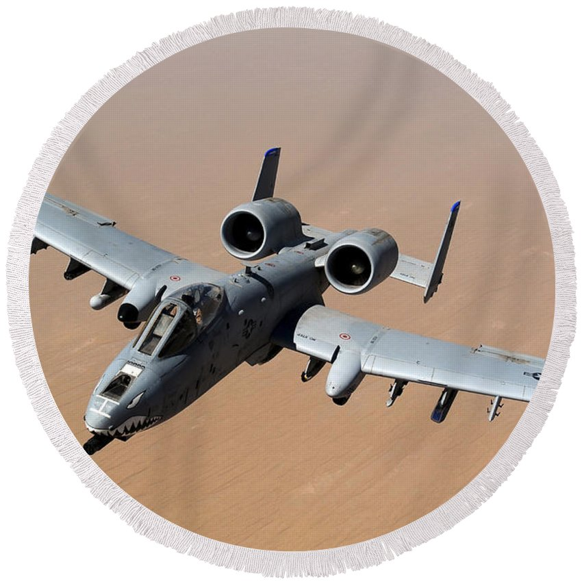 A-10 Round Beach Towel featuring the photograph An A-10 Thunderbolt II Over The Skies by Stocktrek Images