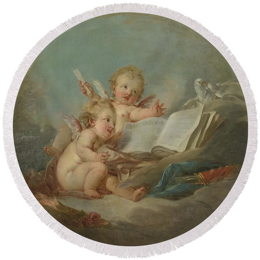 Francois Round Beach Towel featuring the painting An Allegory Of Poetry by Francois Boucher