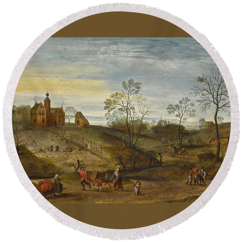 Jacob Grimmer Round Beach Towel featuring the painting An Allegory Of Spring by Jacob Grimmer
