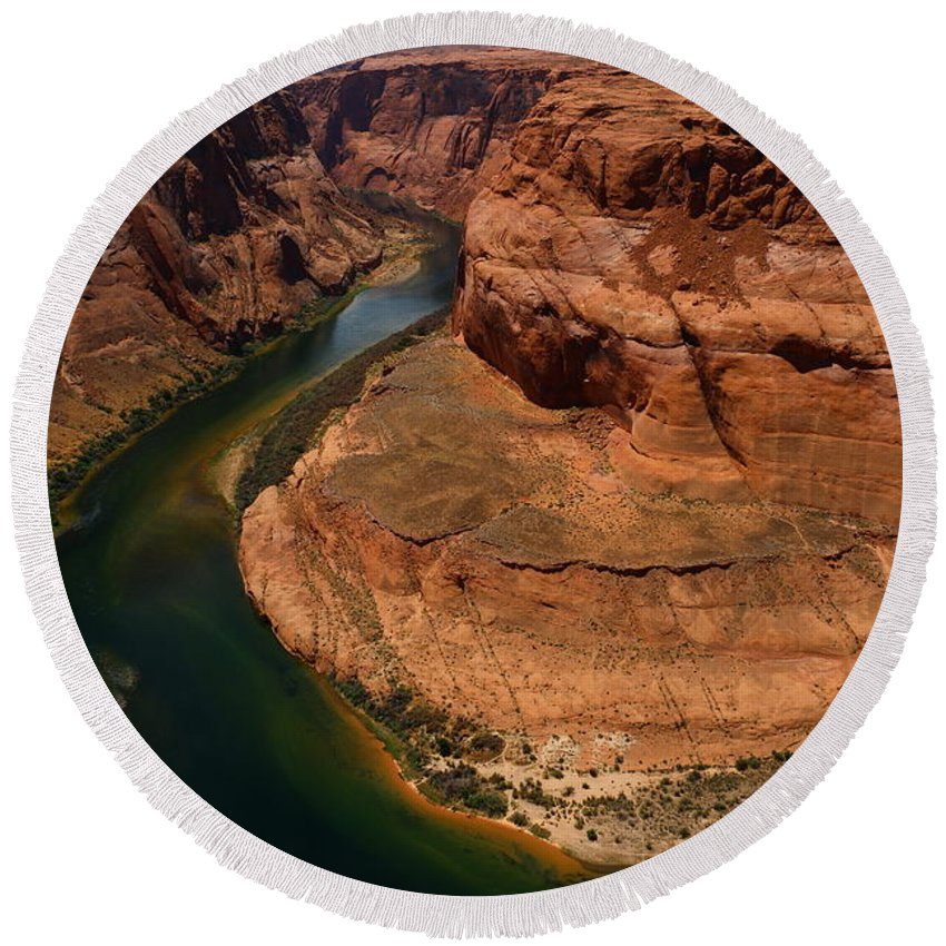 Canyon Round Beach Towel featuring the photograph An Amazing Place - Horseshoe Bend by Christiane Schulze Art And Photography