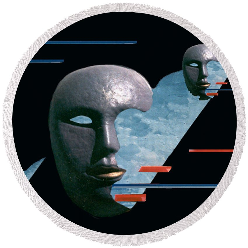 Surreal Round Beach Towel featuring the digital art An Androids Dream by Steve Karol