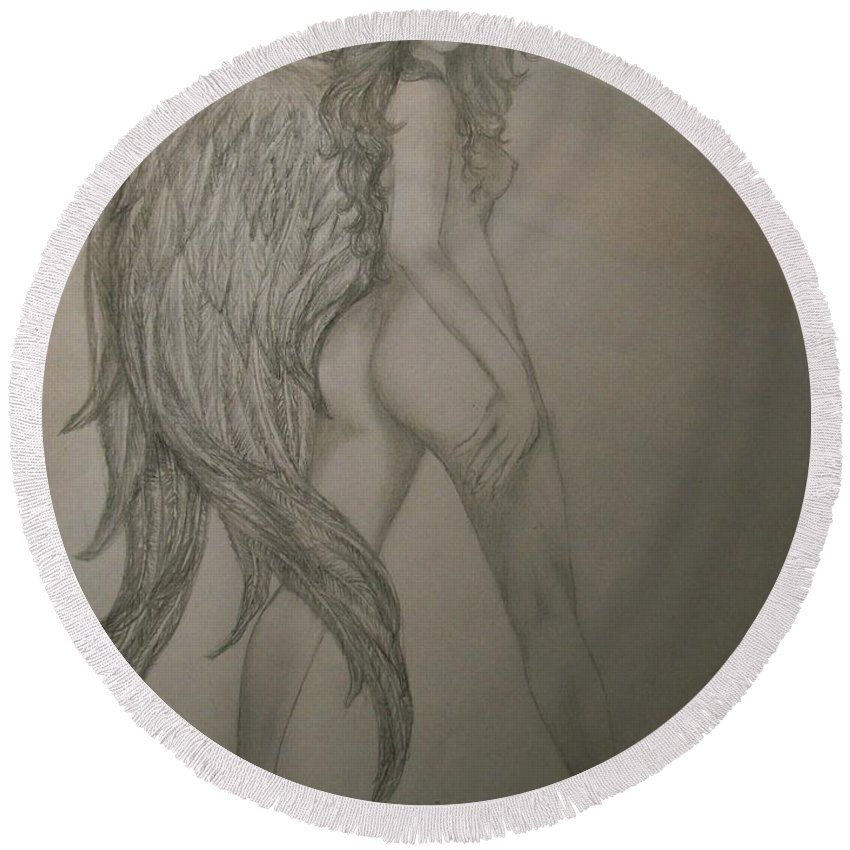 Angel Round Beach Towel featuring the drawing An Angel by Glory Fraulein Wolfe