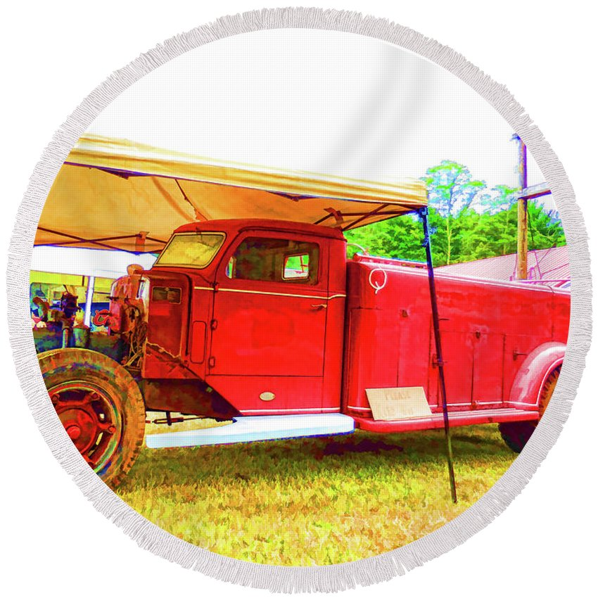Antique Round Beach Towel featuring the painting An Antique Fire Department Vehicle On Display 1 by Jeelan Clark