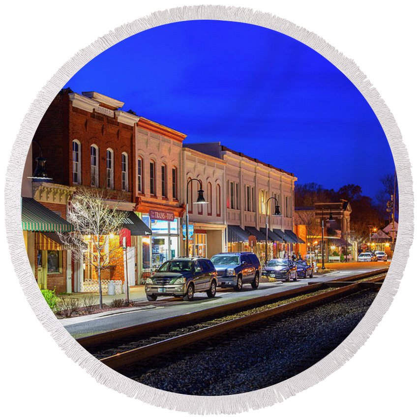 Railroad Round Beach Towel featuring the photograph An Early Evening In Ashland by Cliff Middlebrook