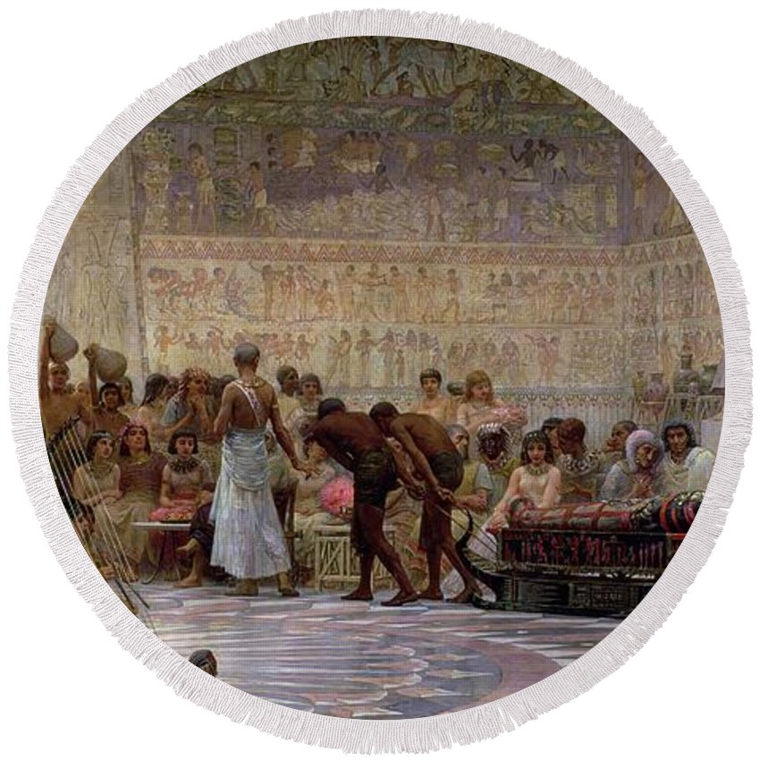 Egyptian Round Beach Towel featuring the painting An Egyptian Feast by Edwin Longsden Long