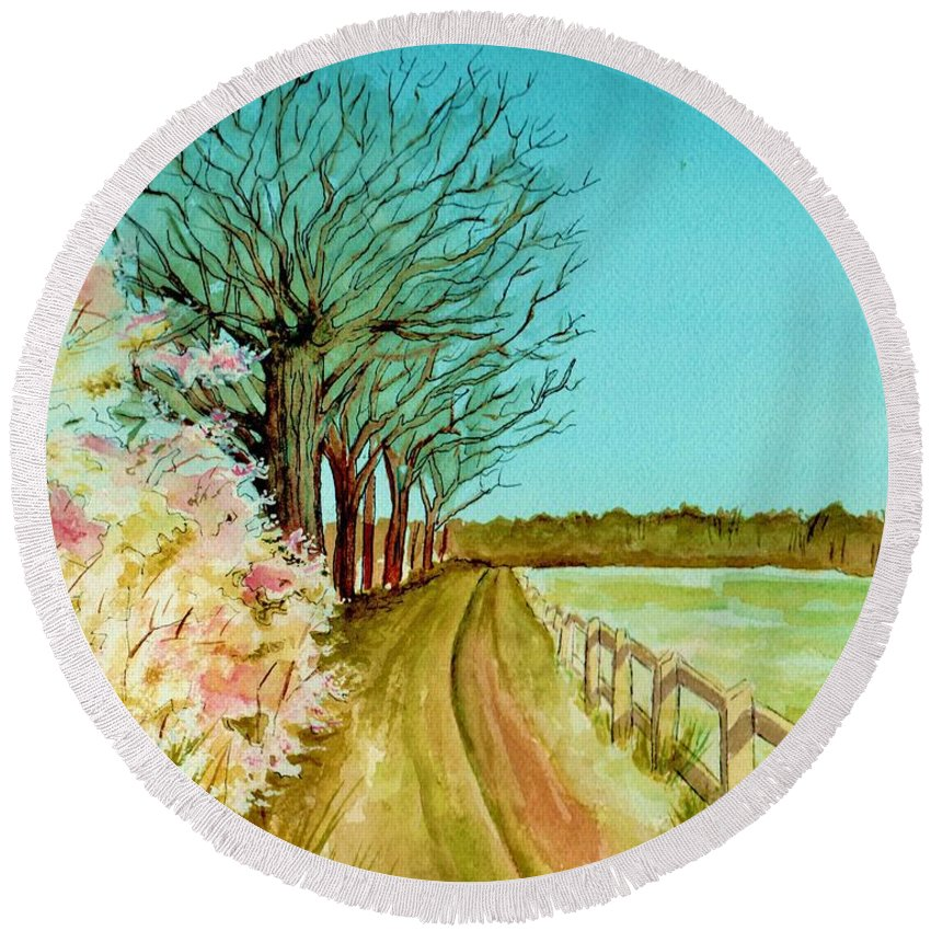 Landscape Round Beach Towel featuring the painting An English Footpath by Brenda Owen