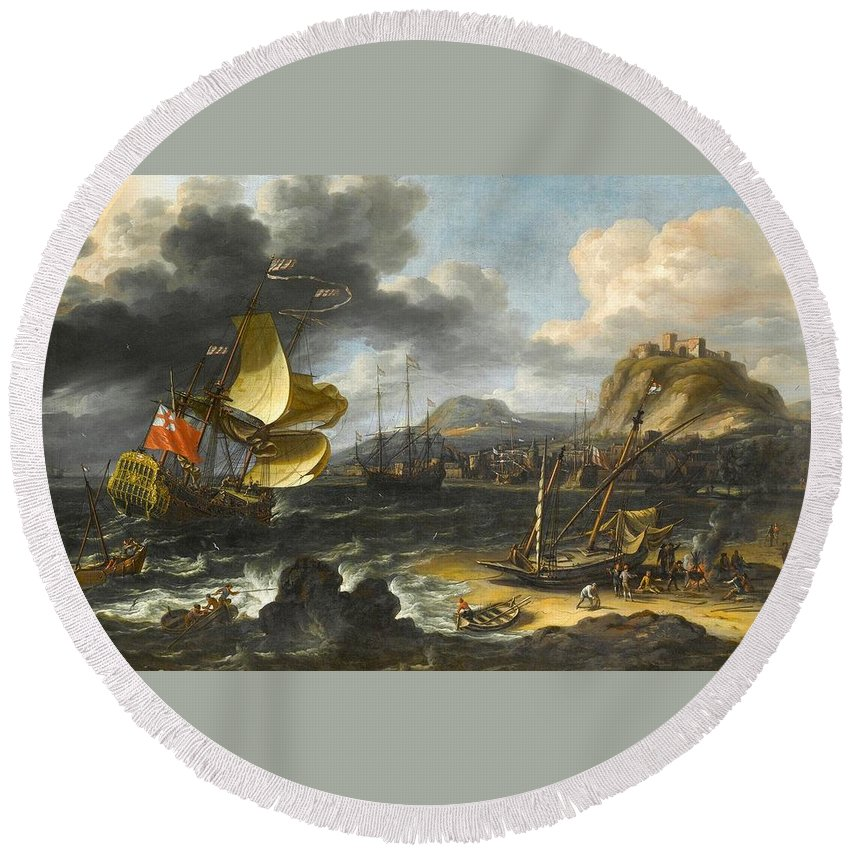 Lorenzo A. Castro (antwerp Fl. 1672 - 1686) Round Beach Towel featuring the painting An English by MotionAge Designs