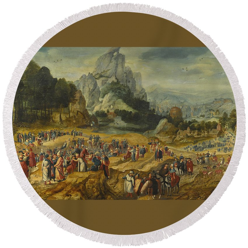 Herri Met De Bles Round Beach Towel featuring the painting An Extensive Landscape With The Preaching Of Saint John The Baptist And The Baptism Of Christ by Herri met de Bles