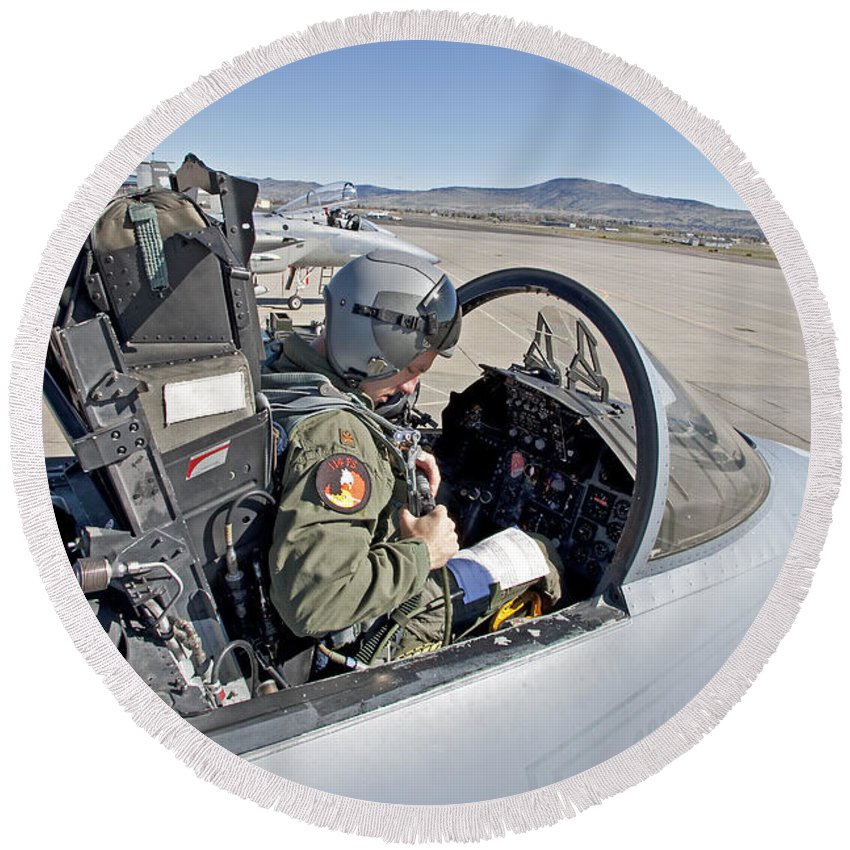 Cockpit Round Beach Towel featuring the photograph An F-15 Pilot Performs Preflight Checks by HIGH-G Productions