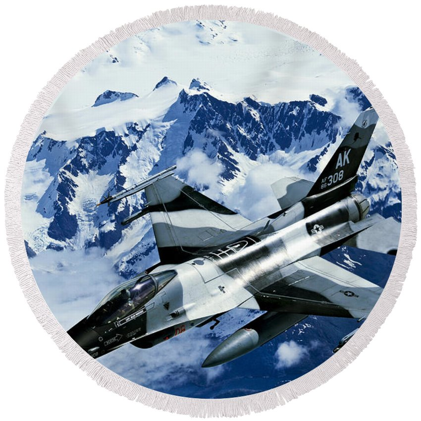 Operation Northern Edge Round Beach Towel featuring the photograph An F-15c Falcon From The 18th Aggressor by Stocktrek Images