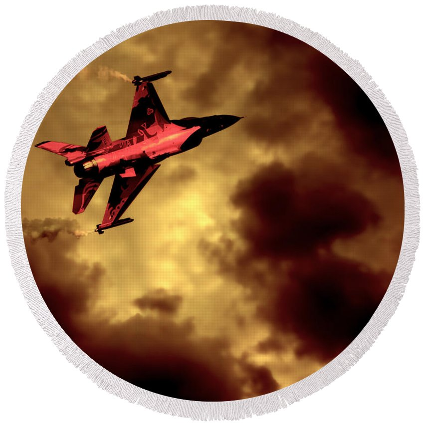F-16 Round Beach Towel featuring the photograph An F-16 Flies Through Hell by Chris Lord