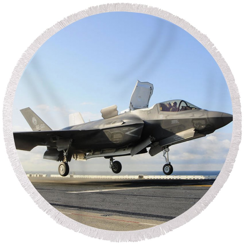 Maritime Round Beach Towel featuring the photograph An F-35b Lightning II Lifts by Stocktrek Images