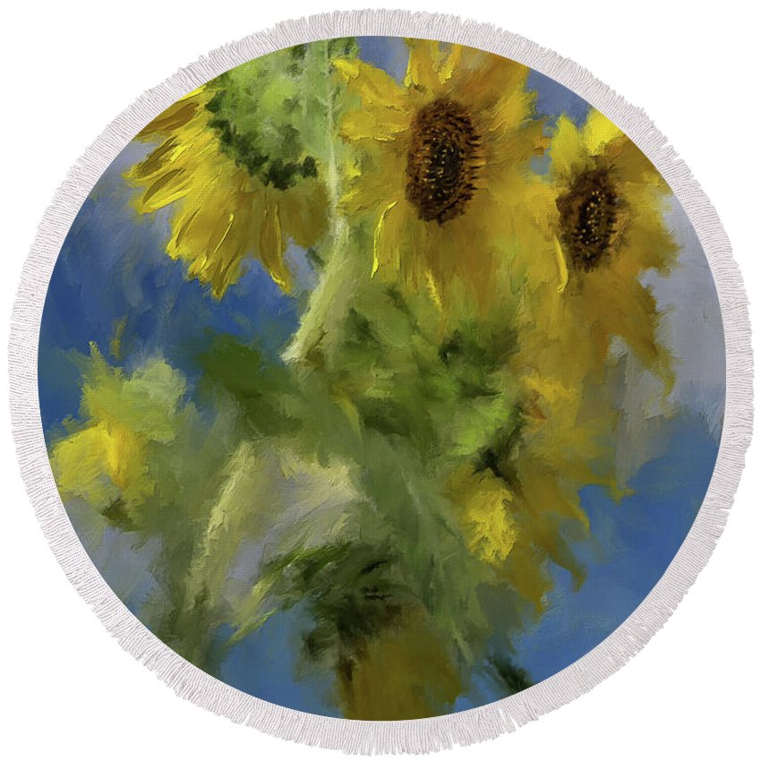 Sunflower Round Beach Towel featuring the photograph An Impression Of Sunflowers In The Sun by Lois Bryan