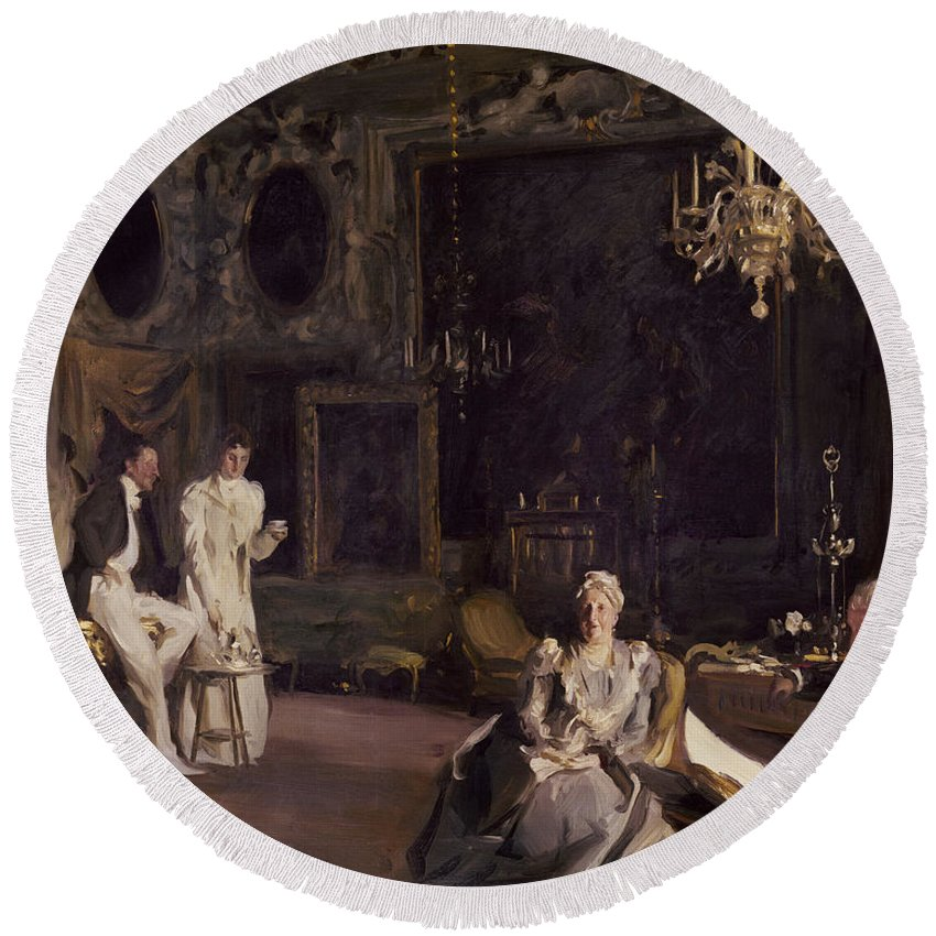 Sargent Round Beach Towel featuring the painting An Interior In Venice by John Singer Sargent