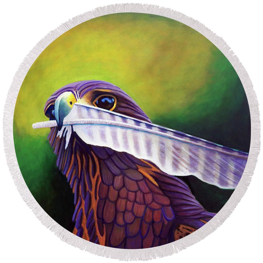 Falcon Round Beach Towel featuring the painting An Invitation by Brian Commerford