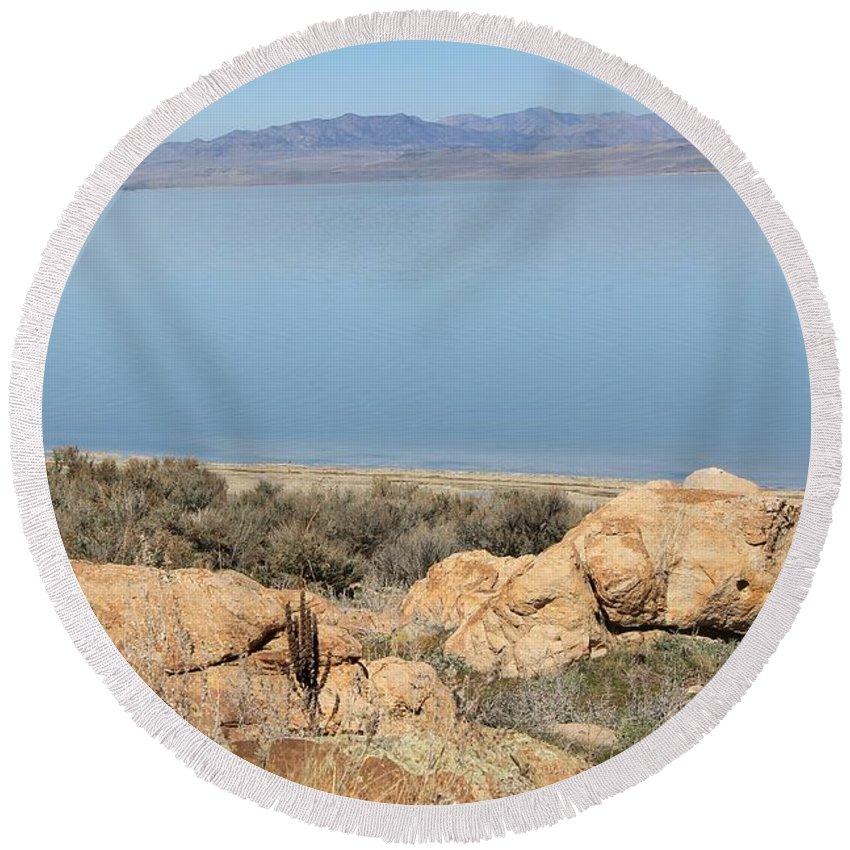Nature Round Beach Towel featuring the photograph An Island View 2 by Tonya Hance
