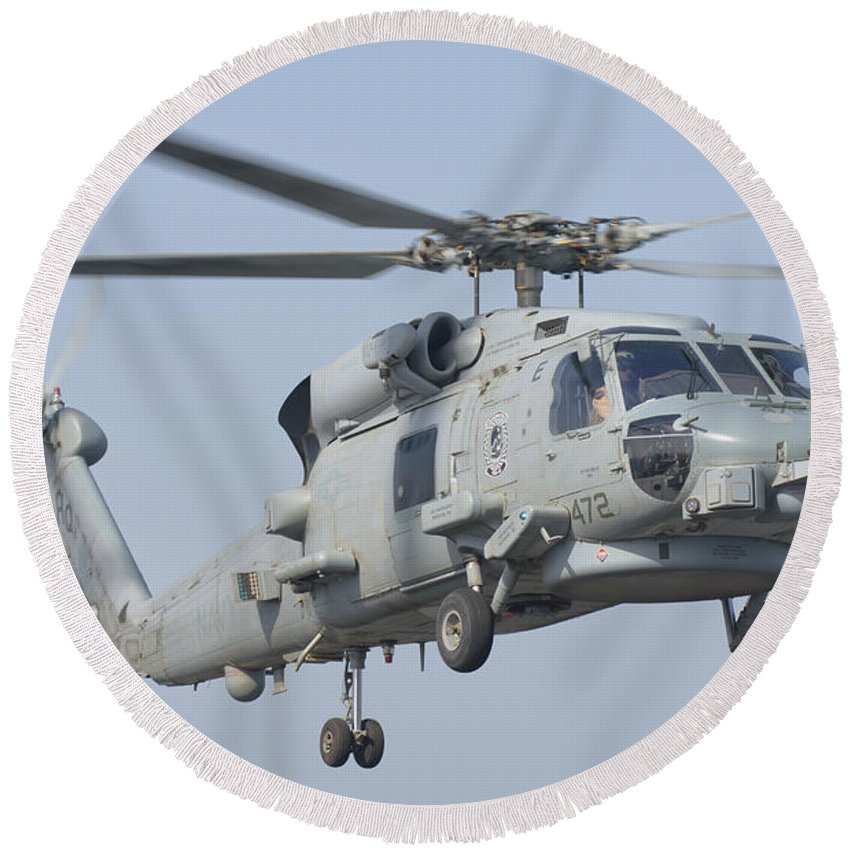 Horizontal Round Beach Towel featuring the photograph An Mh-60r Seahawk In Flight by Giovanni Colla
