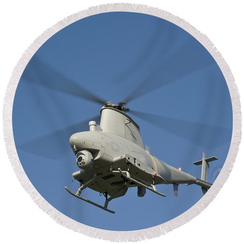 Mq-8 Fire Scout Round Beach Towel featuring the photograph An Mq-8b Fire Scout Unmanned Aerial by Stocktrek Images
