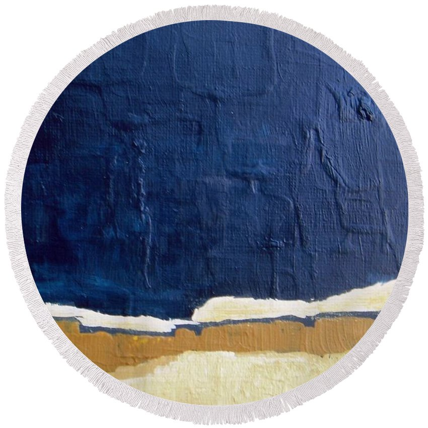 Abstract Round Beach Towel featuring the painting An October Night by Vesna Antic